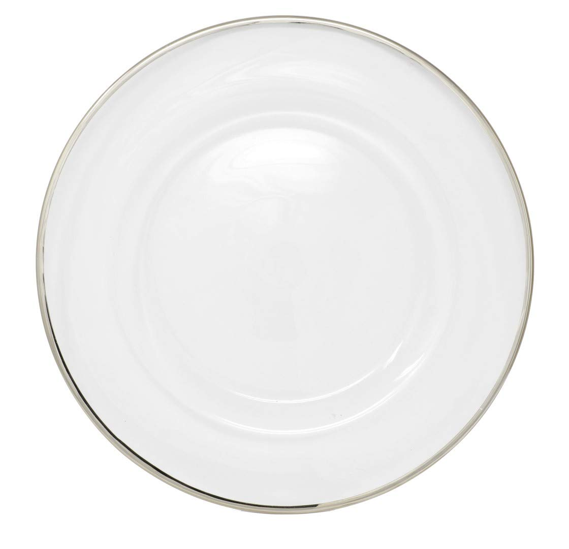 Clear Glass Charger 13 Inch Dinner Plate With Metallic Rim Gold Ms Lovely C120-25-1-gold Set of 4