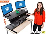 FlexPro Power Electric Standing Desk | Electric Height-Adjustable Stand up Desk | By Award Winning Stand Steady! Holds 2 Monitors + Laptop! | Easy Quiet Adjustments! (Black) (40'')