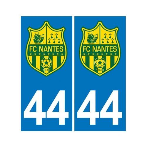 2 Autocollants Plaque Immatriculation Auto Département 44 Blason FC NANTES