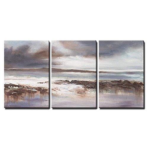 Original Oil Painting Stormy Beach Seascape x3 Panels