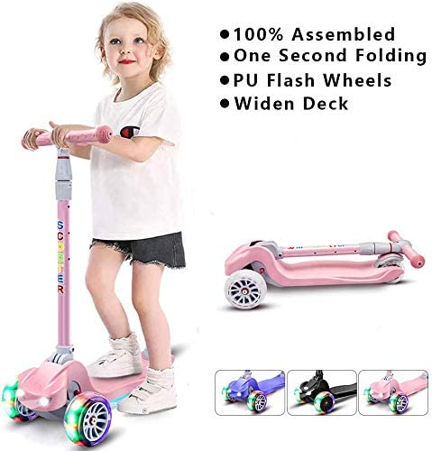 67i Scooters for Kids 3 Wheel Toddlers Scooter for Girls Boys 4 Adjustable Height Lean to Steer with PU Flashing Wheels for Children from 3 to 12 Years Old Pink