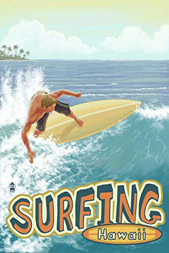 Surfing Hawaii (24x36 SIGNED Print Master Giclee Print w/ Certificate of Authenticity - Wall Decor Travel Poster) by Lantern Press