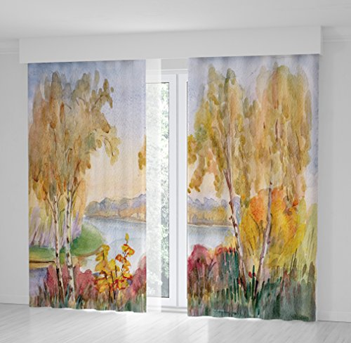 River Birch Leaves (Positive Home Birches Trees Yellow Leaves Red Bushes by River Water Basin Autumn Day Nature Painting Artistic Home Curtain 114
