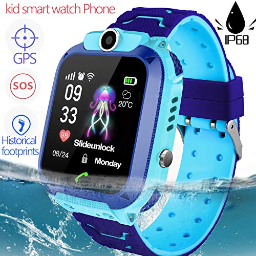 Waterproof Kid Smartwatch Phone GPS Tracker for 3-12 Years Old Boy Girls Two-Way Call SOS Anti-Lost SIM Card Slot Touch Screen Game Camera Kid Wrist Watch Outdoor Sport Christmas Birthday