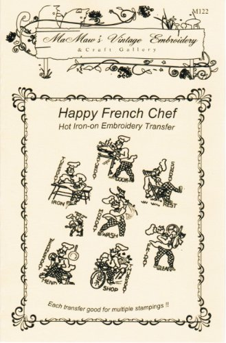 Happy French Chef Days-of-the-week Tea Towels Hot Iron Embroidery Transfers ()