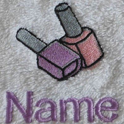 EFY Face Cloth, Hand Towel, Bath Towel or Bath Sheet Personalised with NAIL VARNISH logo and name of your choice (Face Cloth 30x30cm)