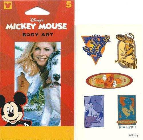 Disney Mickey, Donald, Goofy & Pluto Kissing Love Body Art Temporary Tattoo ()