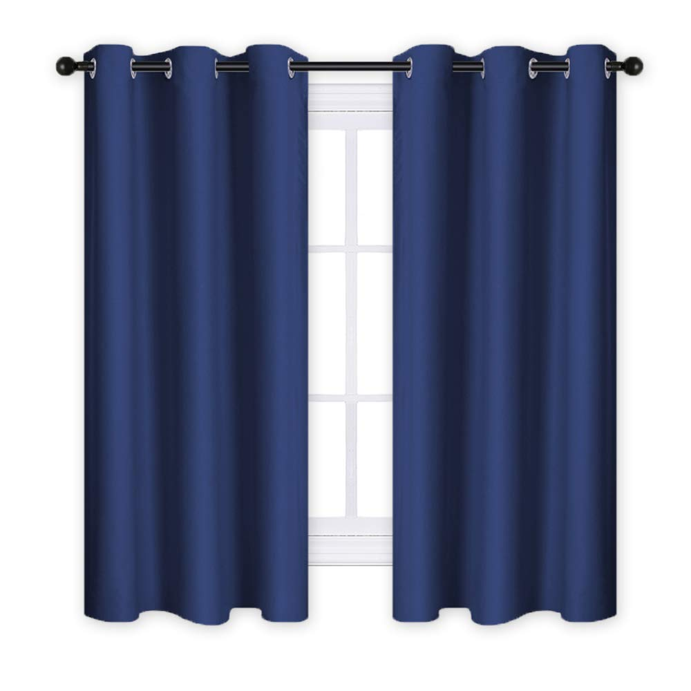 RYB HOME Blackout Window Curtains - Bedroom Window Treatment Panels Sun Light Eliminate Noise Sliding Grommet Top Short Drapery Shades Blinds for Nursery (One Pair, 42 x 63 inches, Navy Blue)