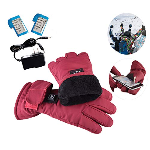 weemoment Women Electric Rechargeable Heated Gloves Waterproof Back Touch Screen Motorcycle Electrocar Heating Gloves Hand Warmer Three-Speed Adjustment Temperature Lithium Battery Powered
