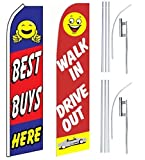 Car Auto Dealer Swooper Flutter Feather Flags & Poles 2 Pack-Best Buys-Drive Out