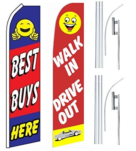 Car Auto Dealer Swooper Flutter Feather Flags & Poles 2 Pack-Best Buys-Drive Out by Mission Flags