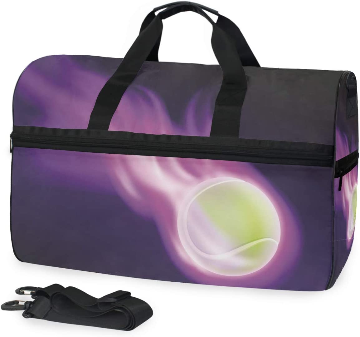 AHOMY Tenni Ball On Purple Fire Sports Gym Bag with Shoes Compartment Travel Duffel Bag