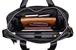 VIDENG POLO® Hotest Men\'s Top Genuine Leather Handmade Briefcase Shoulder Messenger Business Bag From Italy Design (CP-Onyx Black)