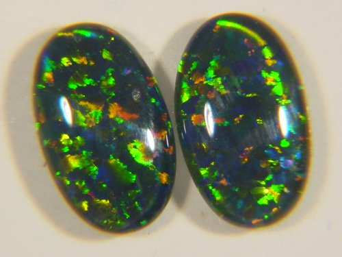 Gilson Opal Oval (2) 10 Mm X 6 Mm X 3 Mm Cabochon Freeform Triplet Gemstone Lapidary