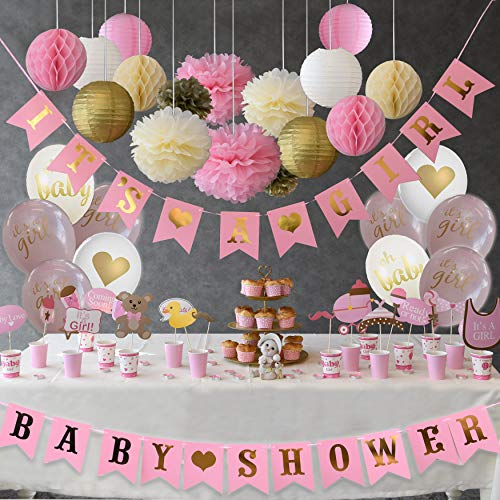 Golden Baby Shower Decorations for Girl Favors - Photo Booth Props, Garland Bunting Banners, Balloons, Ebook Baby Shower Games and Decoration Set 61PCS