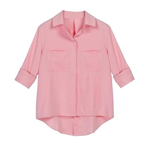 Vovotrade Mujer Otoño Abotonar Oficina dama secretaria Suelto Casual Camiseta Blusa OL Cuello en V A...