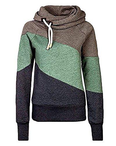 Donna Autunno Inverno Felpe Con Cappuccio Colori Misti Sport Pullover Hoodies Casuale Camicia Maglie A Manica Lunga Tops Verde