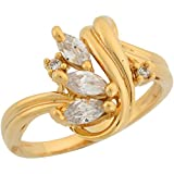 10k Yellow Gold White CZ Modern Designer Inspired Ladies Fashion Cocktail Ring