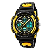 Kids Boys Watch, Multi Function Waterproof Sports Watches with Alarm Stopwatch for Boy Gifts Yellow