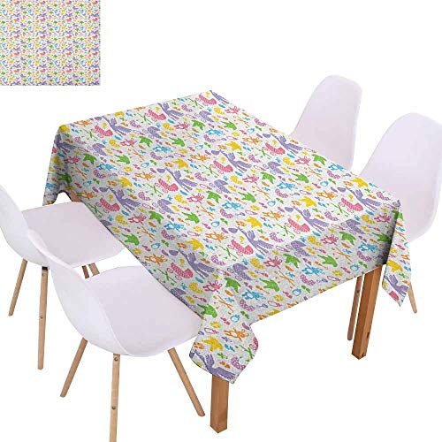 Wrinkle Resistant Tablecloth Baby Stork with Newborn Bunny Toys Milk Bottles Infant Item Silhouettes Stroller Cartoon and Durable W60 xL102 - Mahogany Table Asian