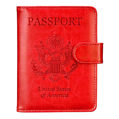 Passport Holder Travel Cover Case - HOTCOOL Leather RFID Blocking Wallet For Passport, Red (Magnetic)