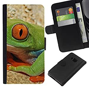 All Phone Most Case / Oferta Especial Cáscara Funda de cuero Monedero Cubierta de proteccion Caso / Wallet Case for HTC One M7 // Frog Nature Eye Deep Equator