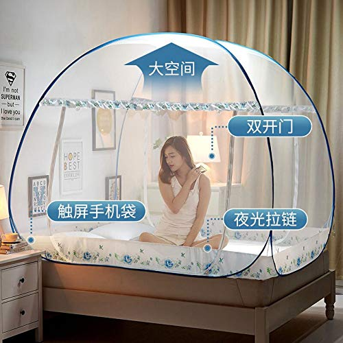 - Mosquito Net for Camping bed - Portable Folding Mosquito Net Mongolian Yurt Insert Mesh Adult Bed Canopy Kids Moustiquaire Blue Foldable Tent Bed Klamboe Nets
