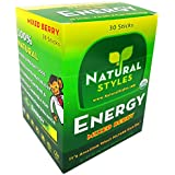 Organic Energy Drink Mix Sticks, 30-Count, Mixed Berry Flavor