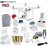 DJI Phantom 4 PRO Quadcopter Drone with 1-inch 20MP 4K Camera KIT, 2 Total DJI Batteries + 64 GB Micro SD Card + Reader 3.0 + Snap on Prop Guards + Range Extender + Charging Hub