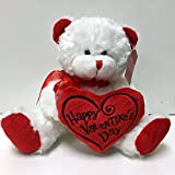 White & Red Happy Valentines Day Plush Teddy Bear Stuffed Animal Gift