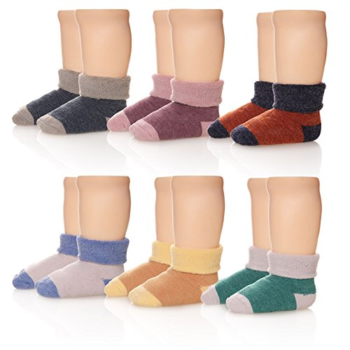 Eocom 6 Pairs Children's Winter Thick Warm Wool Socks Soft Kids Socks Random Color (1-3 Years, Solid Color) ()