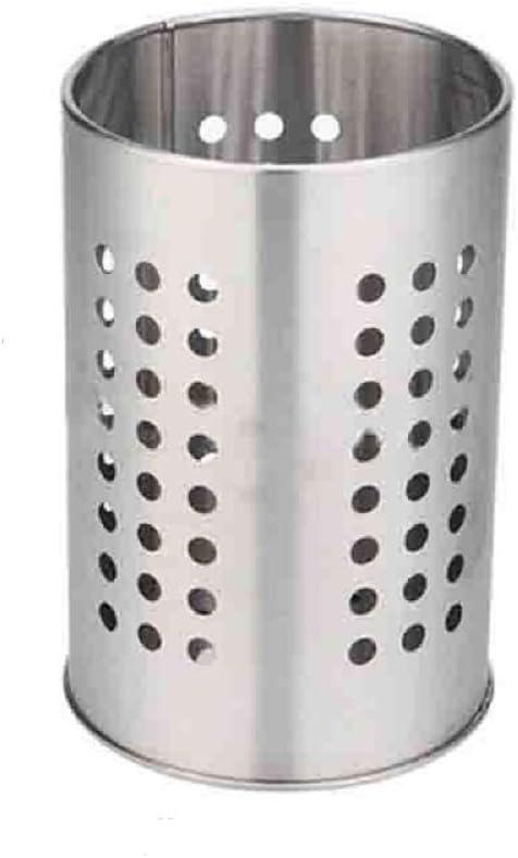 EORTA Stainless Steel Kitchen Utensil Holder Flatware Cylinder Silverware Draining Organizer Drying Rack with Round Drain Holes for Forks, Knives, Spoons, Chopsticks, Medium
