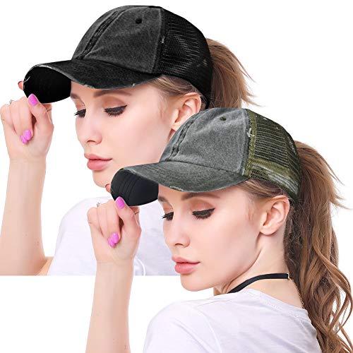 (High Ponytail Hole Baseball Hats Cap for Women,Messy Bun Hat Adjustable Cotton and Mesh Trucker Baseball Sun Cap Black (Washed(Mesh)-Black/Green))