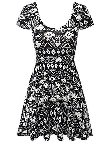 SJSP Scoop-Neck Aztec Print Active Wear PRINT28 Mini Dress,L