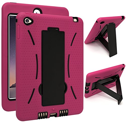 (iPad Mini 4 Case, Bastex Hybrid High Impact Resistant Rugged Outer Hot Pink Silicone Cover Black Kickstand Case for iPad Mini 4)
