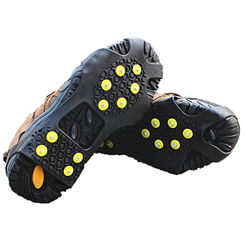 Ice Grips, EONPOW Ice & Snow Grips Cleat Over Shoe/Boot Traction Cleat Rubber Spikes Anti Slip 10 Steel Studs Crampons Slip-on Stretch Footwear