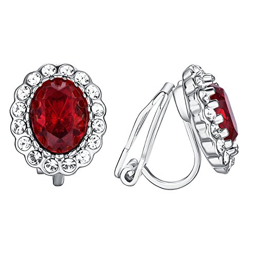 arrings For Women White Topaz Halo Red Big Crystal Earrings Princess Jewelry ()