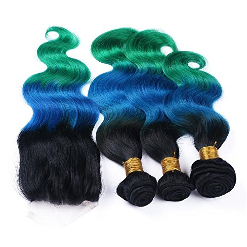 Ombre Body Wave Hair 10A Brazilian Body Wave Remy Human Hair 3 Bundles With 4x4 Lace Closure