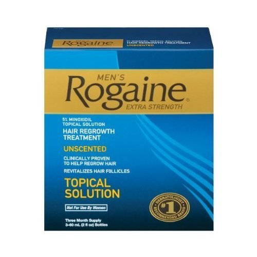 (Rogaine for Men Hair Regrowth Treatment, Extra Strength Original Unscented, 2-Ounce Bottles (Pack of 3))