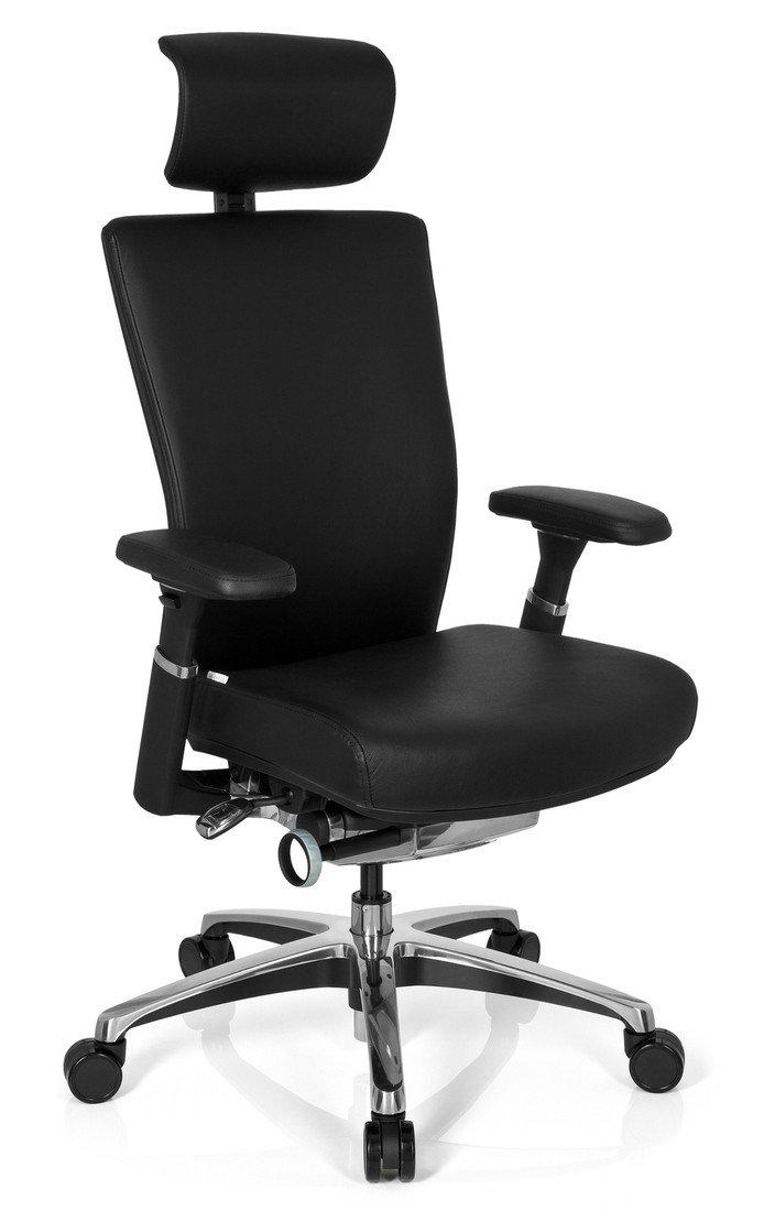 hjh OFFICE 657604 NOVA Bürostuhl Leder, schwarz