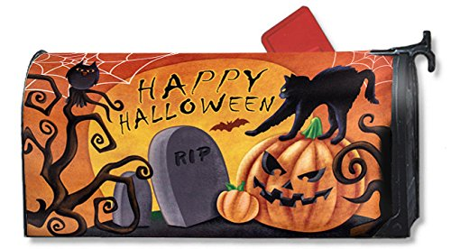 Juvale Magnetic Mailbox Cover - Halloween Themed, Decorative Vintage Vinyl Mailbox Wrap for Standard Size, Happy Halloween Pumpkin Cat and Graveyard Design – Multicolor, 17.2 x 20.8 inches