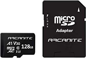 ARCANITE 128GB MicroSDXC Memory Card with Adapter - UHS-I U3, A1, V30, 4K, C10, Micro SD - AKV30A1128
