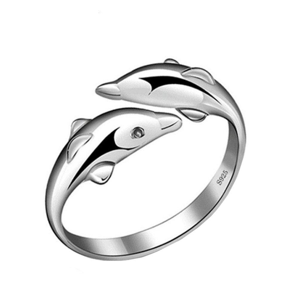 Qinlee Femmes Anneau É lé gant Mode Cristal Anneau Diamant Bend Taille Ré glable Anneaux Ouvert Bijoux De Mariage pour Dame Filles Cadeau D'anniversaire (Argent)
