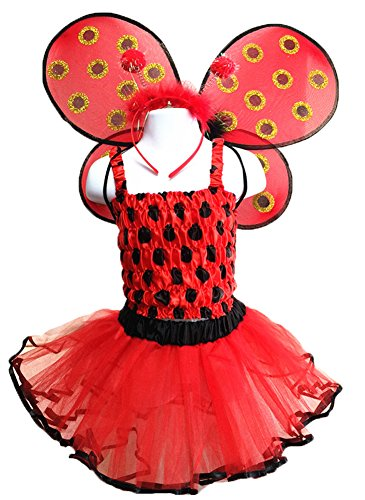 4 Different Themes Toddler Girl's Dress-Up or Costume Wing & Tutu Sets - Ladybug w/ (Ladybug Costume For Toddler)