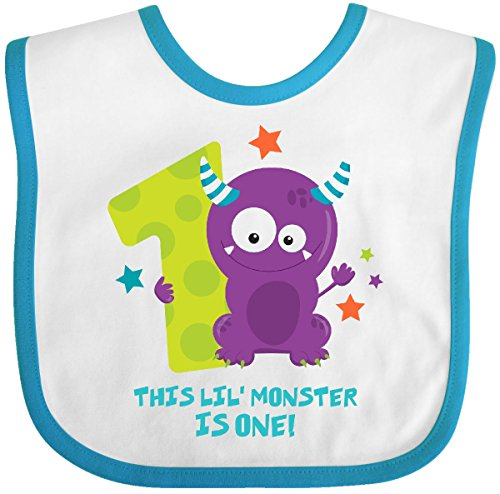 Inktastic - Monster 1st Birthday Baby Bib White/Turquoise