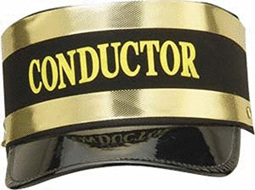 - New Black Engineer Train Conductor Hat Cap Gold Trim Railroad Adult