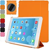 TKOOFN Front Smart Cover + 360 Degree Rotatable Back Case with Adjustable Neoprene Handle for Apple iPad Air (5th Gen) + Stylus + Screen Protector + Cleaning Cloth, Orange - BHK5307