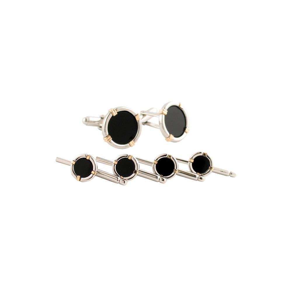David Donahue Mens Sterling Silver & 14kt Gold Wire Onyx Stud Set