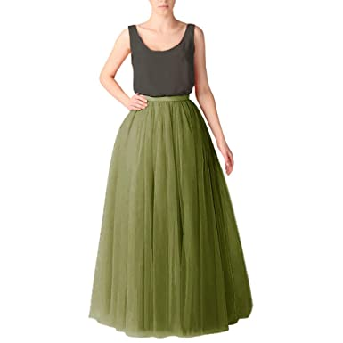 23a1e9d2574 WDPL Women s Long Tutu Tulle Skirt A Line Floor Length Skirts at ...