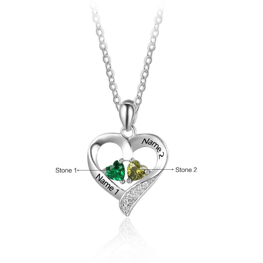 Meеt U Personalized 925 Sterling Silver 2 Birthstone 2 Necklace Pendants Engraved Heart BirthStones Necklace Mom Gift